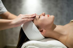 Skin and face treatment at massage spa resort